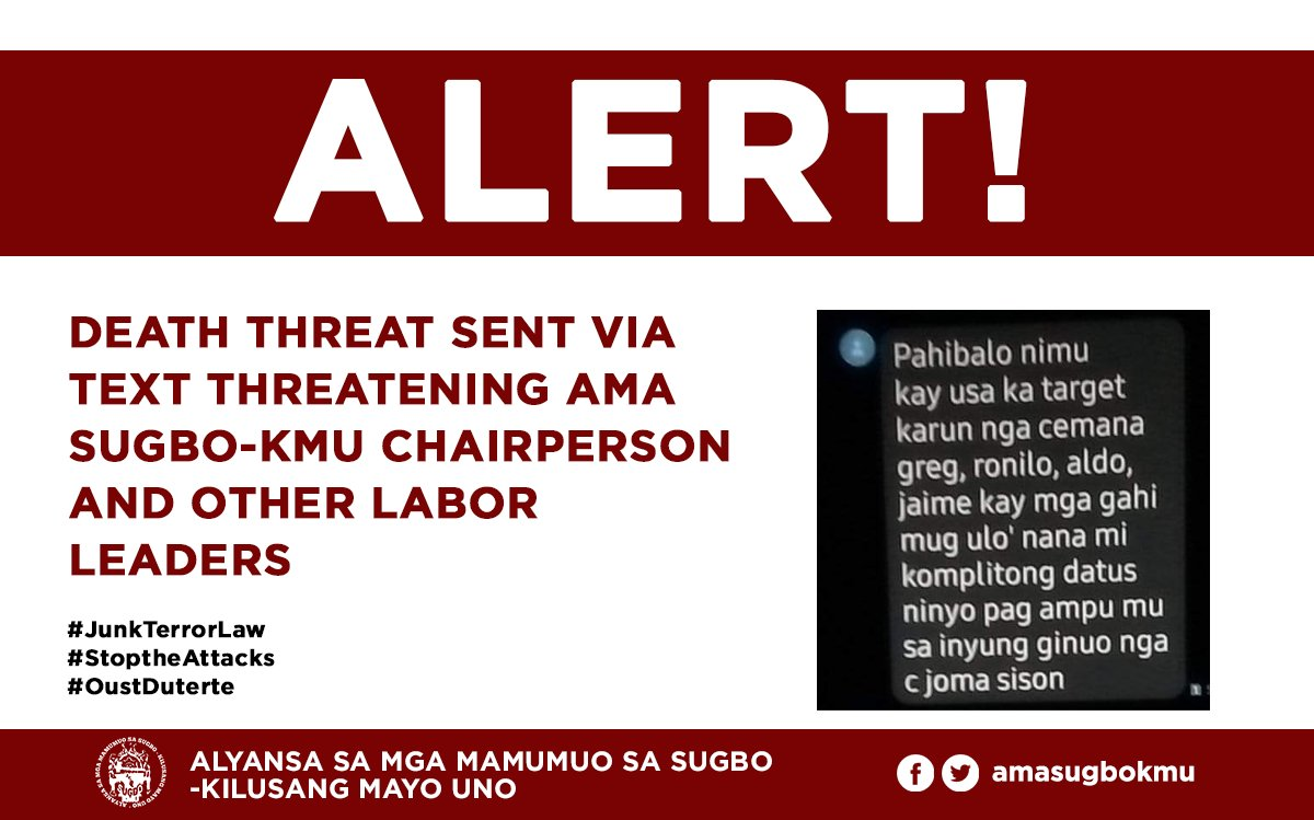 ALERT! At 9:08am today, Jan 17, a text message was received from the cellphone number 09687021367 threatening the lives of AMA Sugbo-KMU chairperson Jaime Paglinawan and ALSA Kontraktwal organizer Aldo Serat, and other labor leaders. READ MORE HERE: facebook.com/amasugbokmu/po…