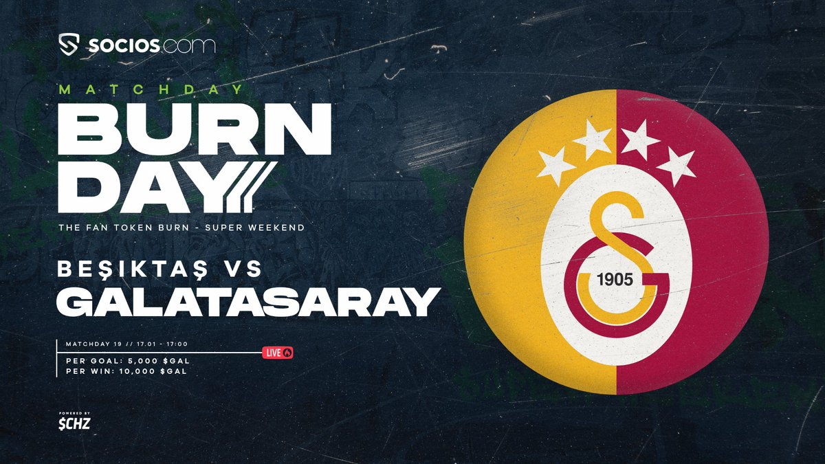 🦁60 minutes away from the first ever @GalatasaraySK Fan Token burn.  What you need to know - 🔥5,000 $GAL burned per goal 🔥10,000 $GAL burned for win  ⚡ $CHZ  #Coin #kripto #dijital #para #crypto  #borsa #token #exchange #takas #swap  #purchase and #sale