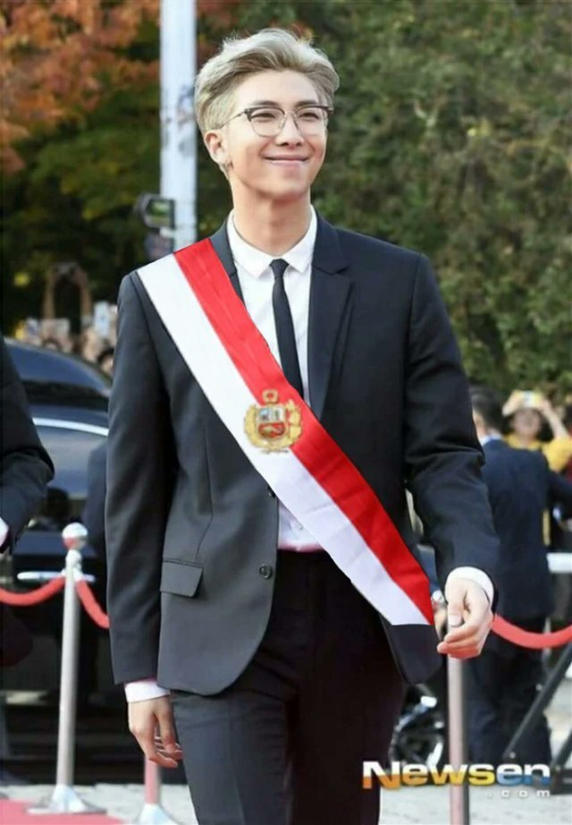 Namjoon president of Peru   I'm voting for BTS (@BTS_twt) for Favorite Social Artist at the #AMAs