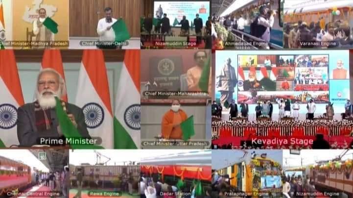 रेलवे के इतिहास में संभवत: पहली बार ऐसा हो रहा है जब एक साथ देश के अलग-अलग कोने से एक ही जगह के लिए इतनी ट्रेनों को हरी झंड़ी दिखाई गई हो। पीएम श्री नरेंद्र मोदी जी #StatueOfUnityByRail