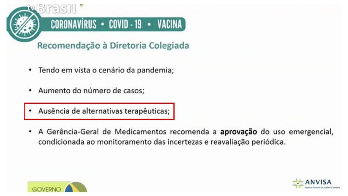 """Órgãos de controle, juízes, deputados, senadores, notem que em decisão técnica Gerência-Geral de Medicamentos na Anvisa sobre a vacina deixam claro que hoje não há tratamento alternativo contra Covid. Isto é, """"tratamento precoce"""" vendido pelo @minsaude não tem eficácia comprovada"""