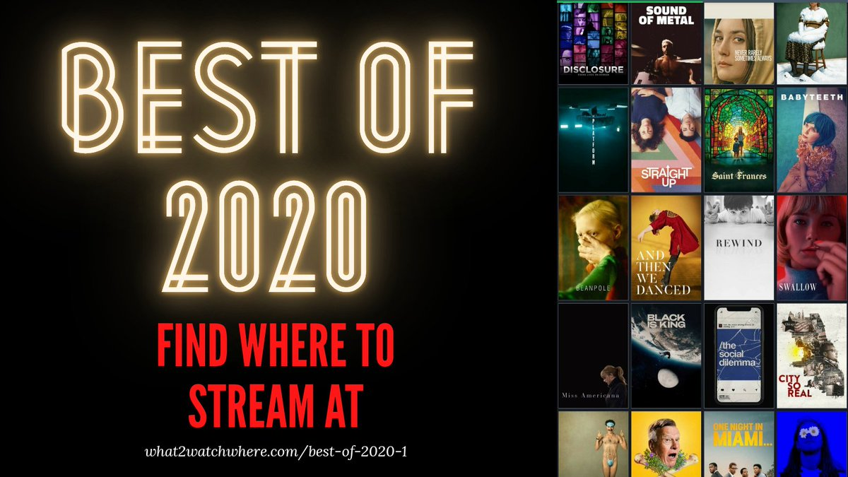 CHECK OUT OUR UPDATED LIST OF THE BEST OF 2020 AND WHERE TO STREAM #WHAT2WATCH #MOVIERECOMMENDATIONS #FILMTWITTER #FILMGEEK #MOVIENERD #BESTOF2020 #MOVIELISTS #ENDOFYEAR #MOVIESUGGESTIONS #WHATSHOULDIWATCH #YOUSHOULDWATCHTHIS #FILMS #2020Wrapped #2020