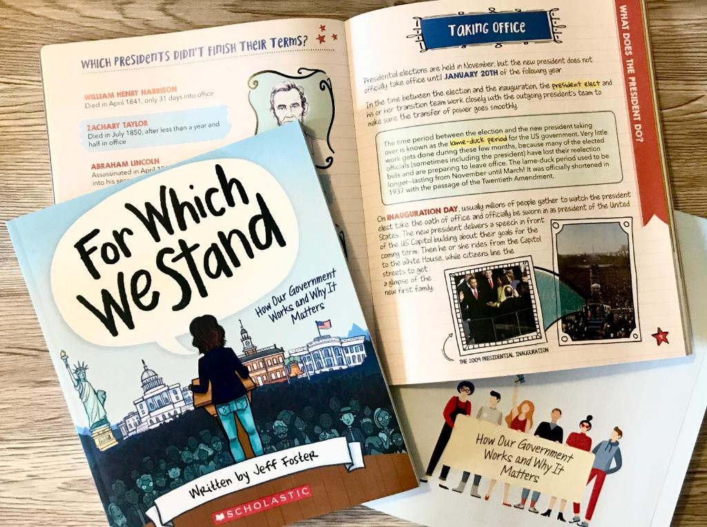 If your kids are wondering what an Inauguration is, books can help you discuss it with them. In #ForWhichWeStand, kids will discover how the US government works through this accessible and illustrated handbook:  @mrjefffostermsd