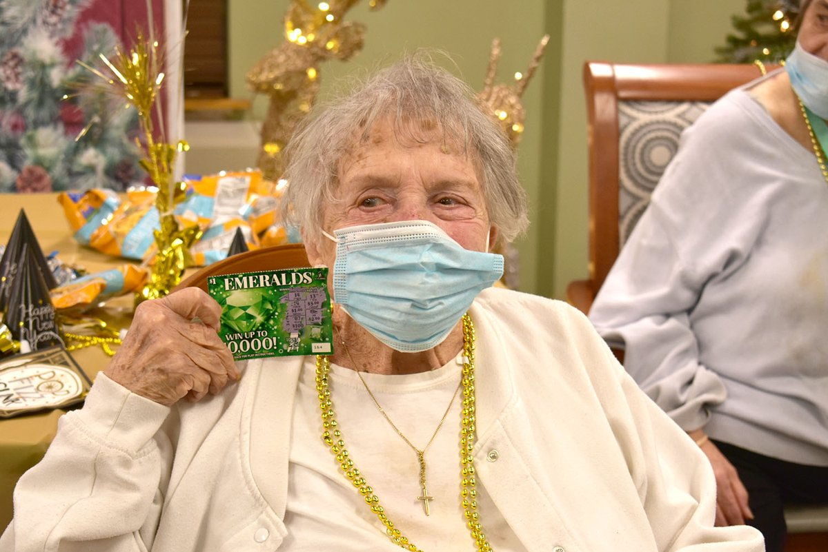 Lucky Ticket?? Rachel had some fun in the #AdultDayCenter, ringing in the new year and taking her chances on this ticket!  #MaryWade #NewYear #NewYear2021 #HappyNewYear #ScratchLotto