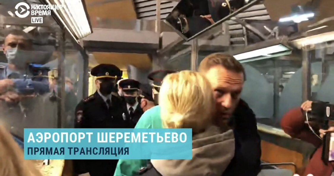 Alexei Navalny was arrested at passport control, kissing his wife before he was taken away. What an extraordinary man