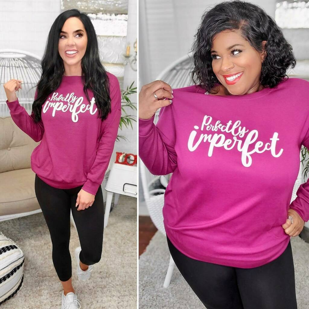 You're Perfectly Imperfect! 💜 Shop the Yummy Pocket Lightweight Sweatshirts at ! 4 colors and sentiments to choose from! Starting at $29!    #fashion #love #style #instagood #like #photography #photooftheday…