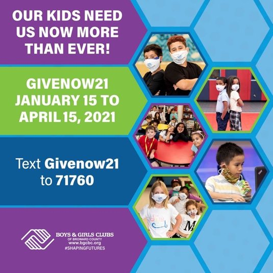 From today until April 15th, you get to help kids in the community by simply sending a text! Text Givenow21 to 71760, click the link, & select your gift! Your contribution will enable Boys & Girls Clubs to meet the growing needs of our youth. @BGCofBroward #BGCBC #ShapingFutures https://t.co/8jpXE3f14o