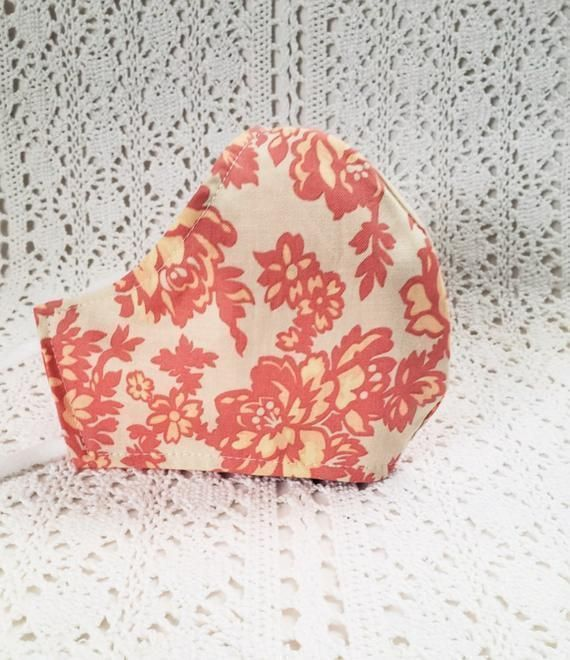 Floral Face Mask - #Beach Coral Peach Flowers Cotton Reversible Adjustable Fitted #Facemask #Spring #Summer Handmade USA  #etsyshop #etsyhandmade #facemasks #facemasksforsale #fashion #style #ValentinesDay #birthdaygift #boutiquefacemask #giftforher  #sale