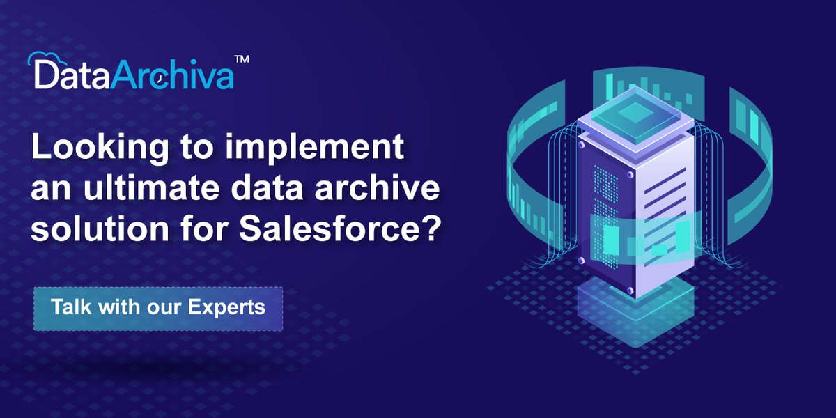 Your search for the best possible Salesforce data archiving strategy ends here. Try #DataArchiva for all your complex data archival needs.   #AppExchange #DataManagement #DataArchiving #Salesforce #BigObjects