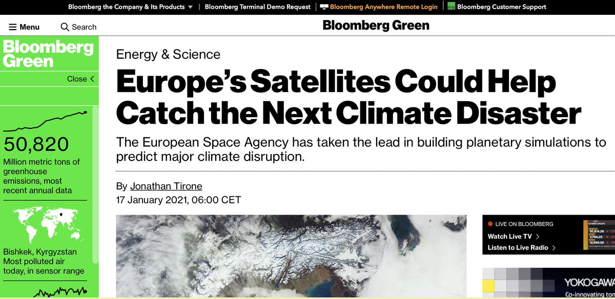 Excellent article in Bloomberg @climate on the benefits of @CopernicusEU @ESA_EO for climate monitoring bloomberg.com/news/articles/…