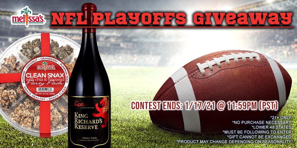 Is your #NFL team playing today? GET EXCITED for a #giveaway to go along with #FootballSunday 🏈  How to Enter ⬇️ 1: Follow US (@melissasproduce) 2: RT and REPLY with your fave game day #snack  One winner selected at random on 1/18/21  #NFLPlayoffs #CLEvsKC #TBvsNO