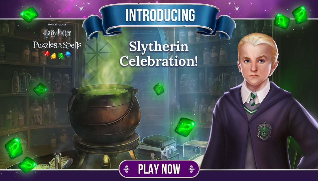 These cunning folks use any means to achieve their ends. Participate in #SlytherinCelebration by collecting Green Gems inside main progression puzzles.  Play Slytherin Celebration NOW ➡️   #HarryPotterPuzzlesAndSpells #Match3 #Slytherin #DracoMalfoy
