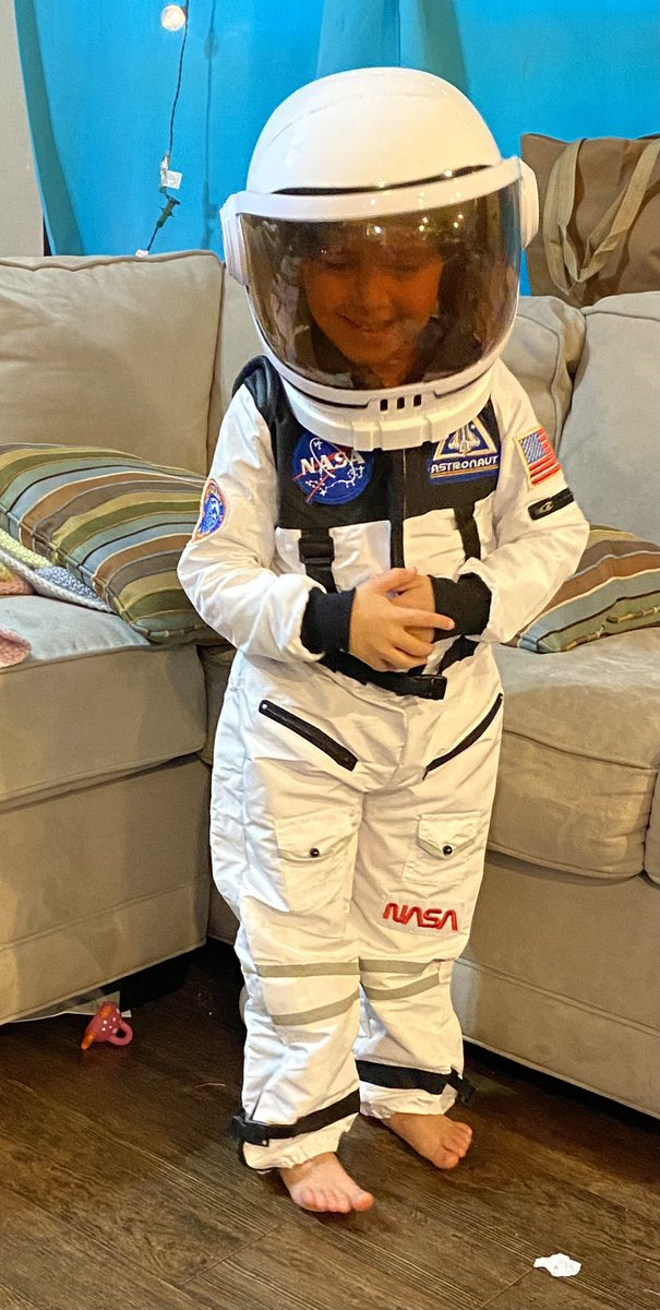 My granddaughter said she wants to be an astronaut when she grows up. Today's her 5th birthday. That's as close as she's ever been to being a grownup, so I decided it's time for her to be an astronaut.