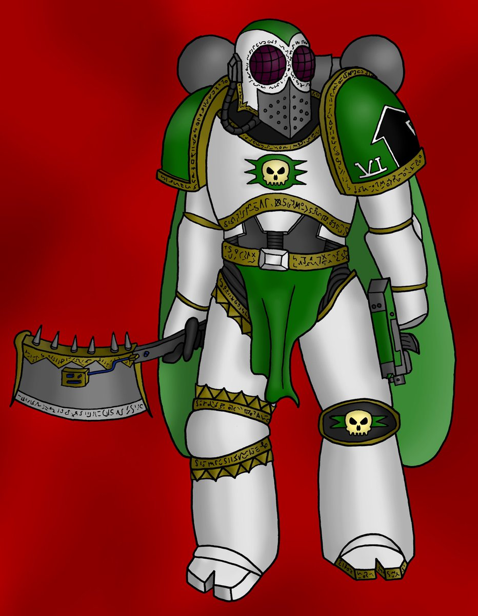 Pre Heresy Death Guard captain from a fanfiction I hope to one day finish. Most of its not great but I think the helmet is damn cool. #warhammer40k #ArtistOnTwitter #fanfiction #fanart