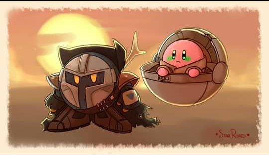 The Mandalorian x Kirby  This drawing is not mine, but I want to share it because it is very beautiful, the artist who made it is a genius.  #TheMandalorian #Kirby #fanart #BabyYoda #drawing #crossover