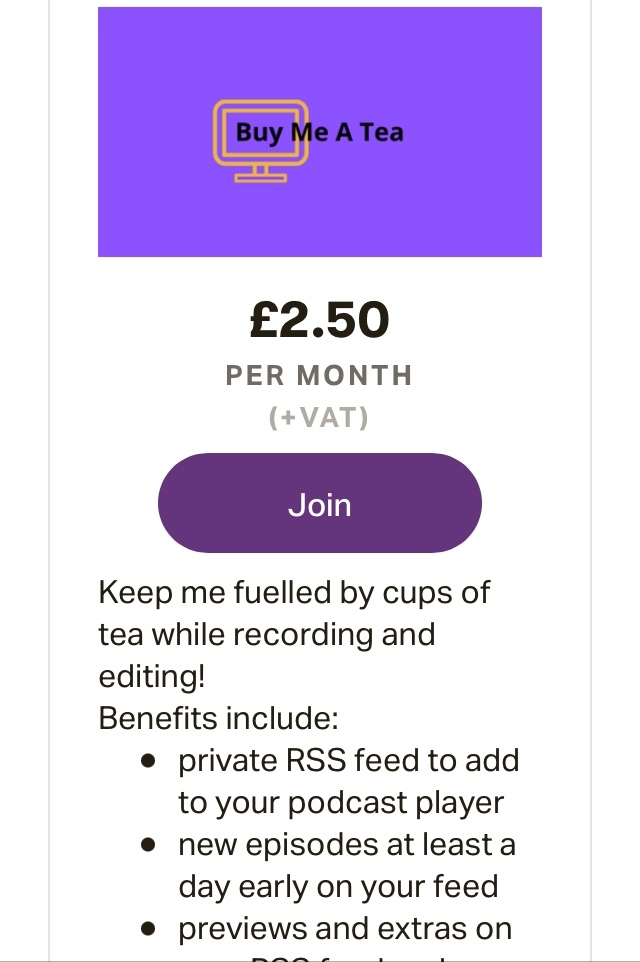 Did you know we added a Buy Me A Tea tier to our membership options? Fuel is needed for the long hours of editing. In exchange you will receive lovely extras on your own RSS feed. See more at . #jointhepod #buymeatea #supportpodcasts #memberbenefits #extras
