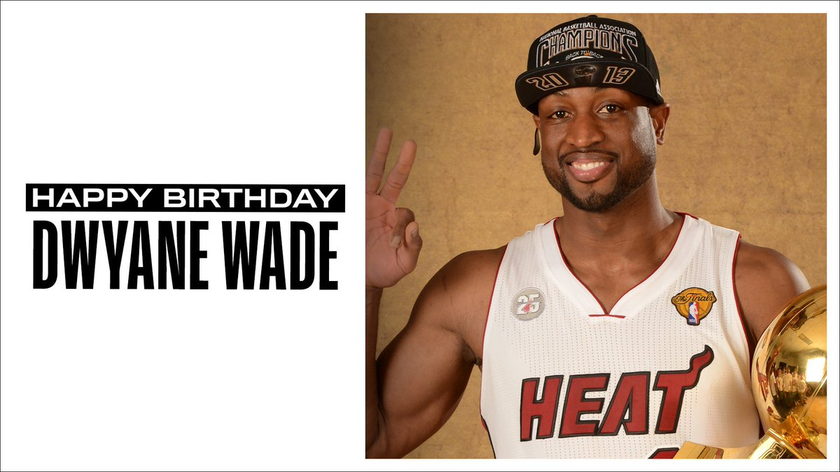 Join us in wishing a Happy 39th Birthday to 13x #NBAAllStar, 3x NBA champion and 2005-06 NBA Finals MVP, Dwyane Wade! #NBABDAY