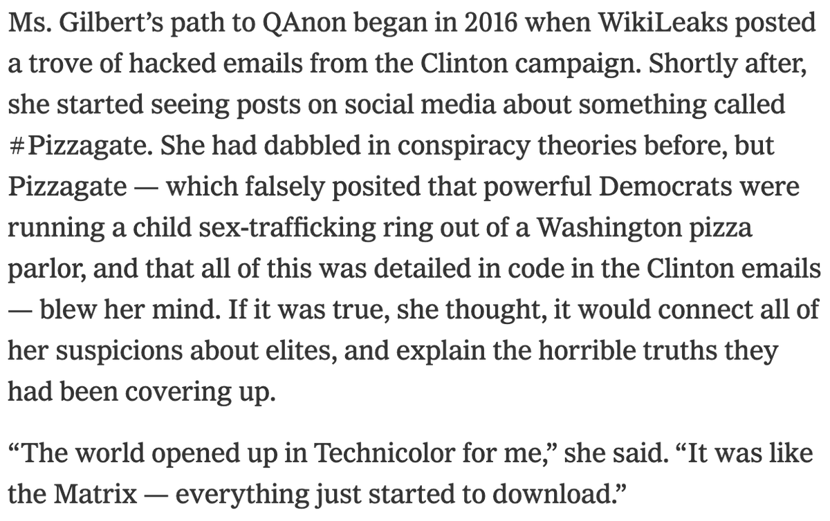 This piece by @kevinroose really beautifully explains the appeal of QAnon. Q offers an overarching theory to make sense of a frightening world, and it gives adherents a feeling of control and community. They become part of a team revealing the truth.