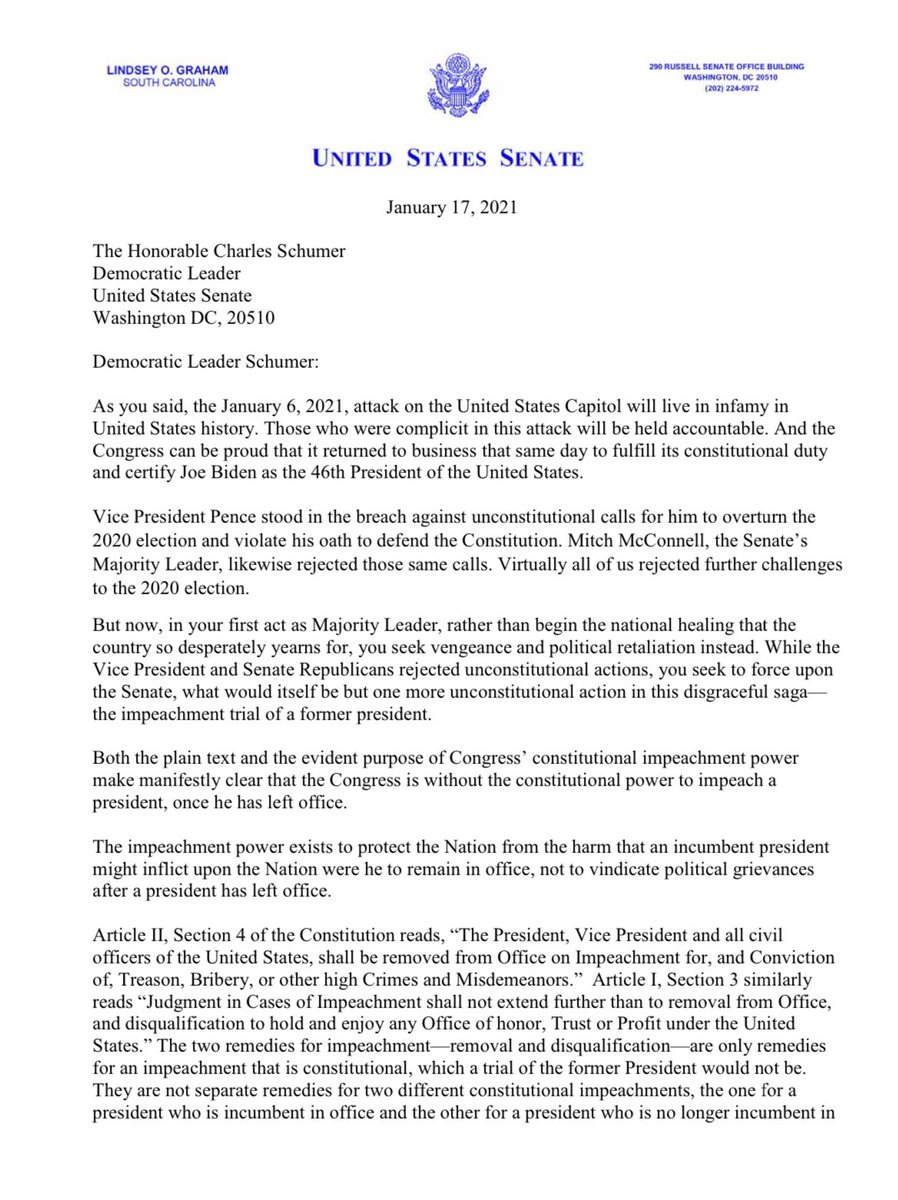 My letter to Democratic Leader Schumer.   The Senate should vote to dismiss the article of impeachment once it is received in the Senate. We will be delaying indefinitely, if not forever, the healing of this great Nation if we do otherwise.