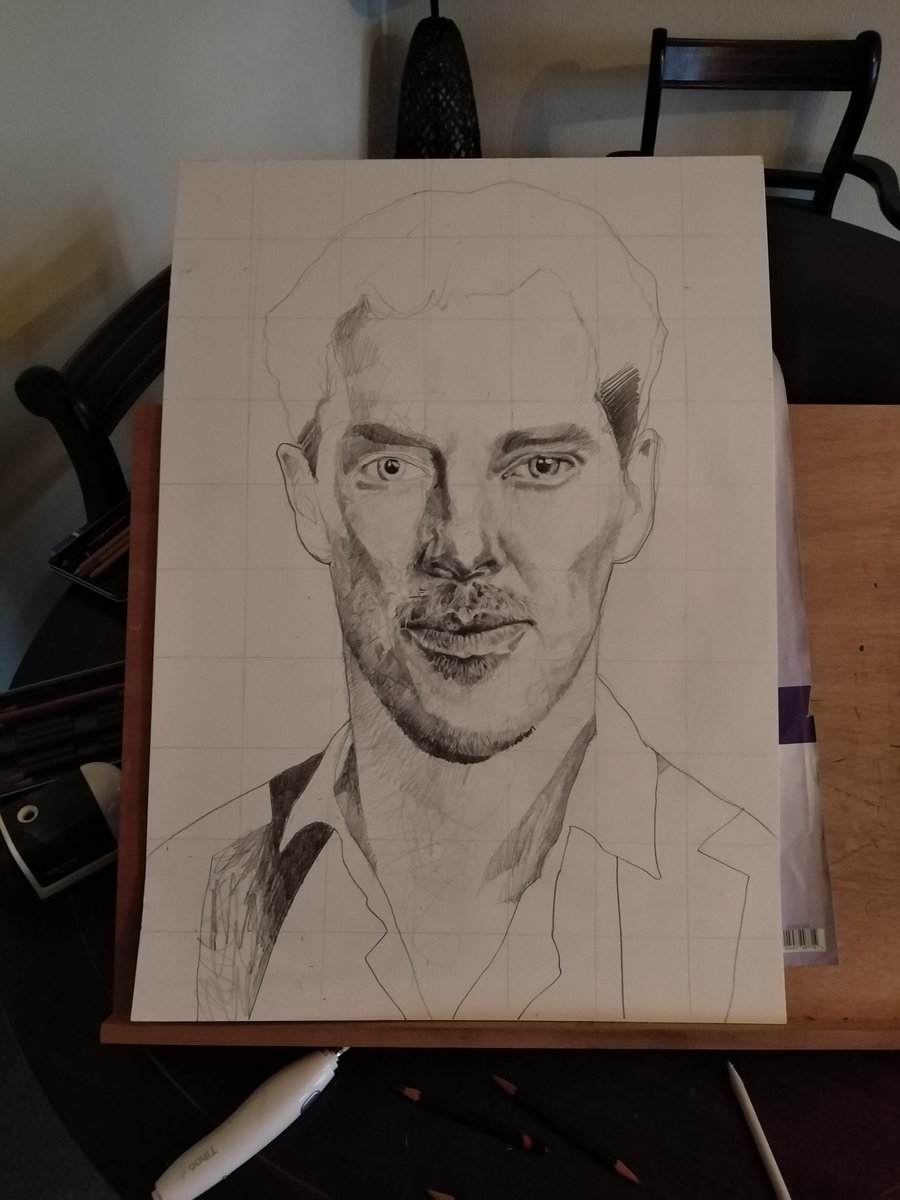 Working on a #BenedictCumberbatch sketch. #ArtistOnTwitter #pencilsketch #FanArt