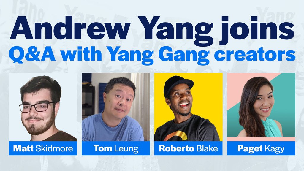 Calling all #YangGang! 🗣  Join @AndrewYang tonight for a Q&A with Yang Gang creators @ZachandMattShow, @nerdsforyang, @robertoblake, and @PagetKagy. You won't want to miss this!