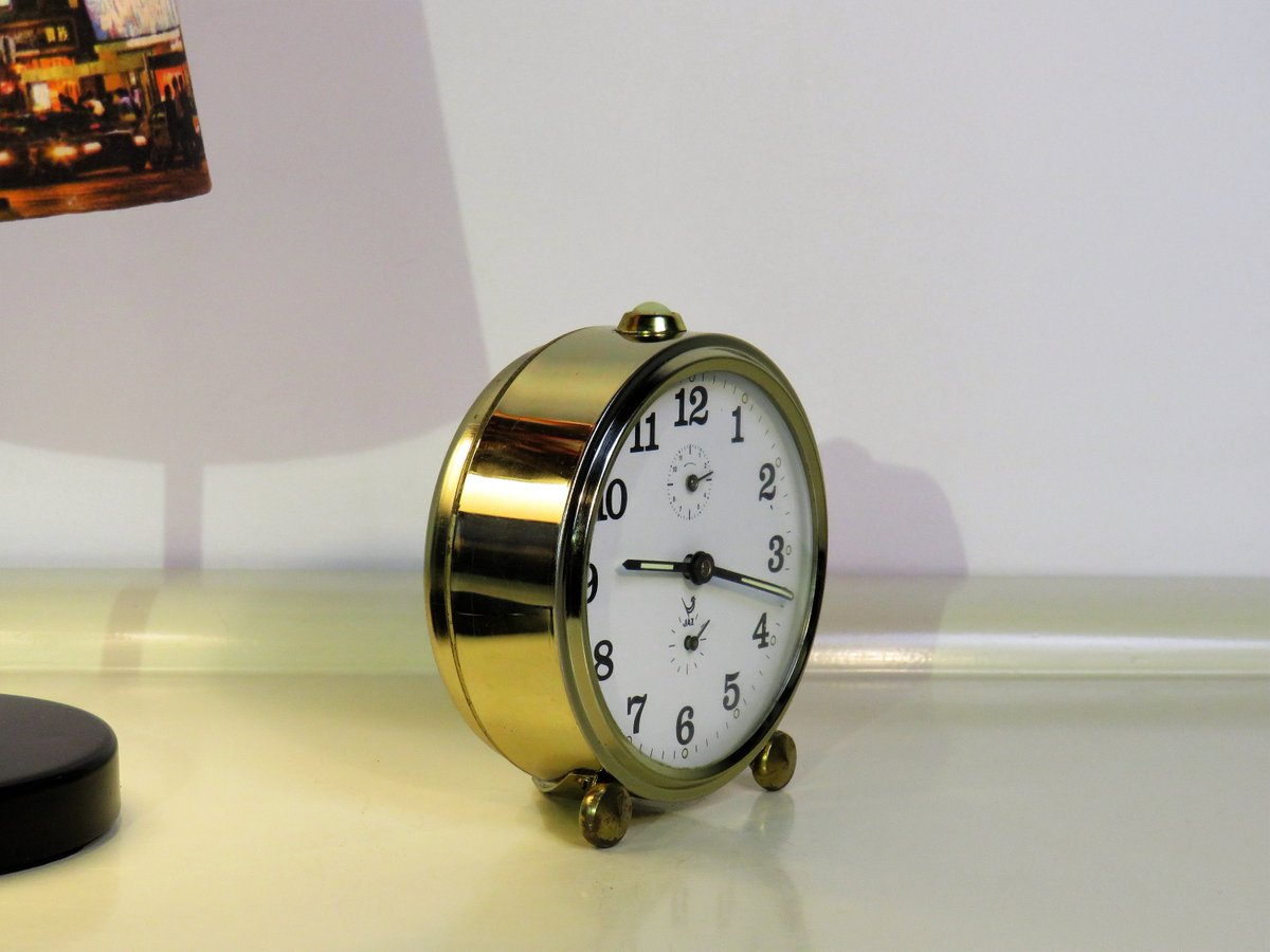 Vintage JAZ Alarm Clock Gold Color, Wind Up Clock, Old Retro Alarm Clock, Made in France, Home Decor, Retro 70s  #MyNewTag #Vintage #Wedding #Retro #BlackFriday #Christmas #FREESHIPPING #CYBERSALE #covid-19 #HomeAndLiving
