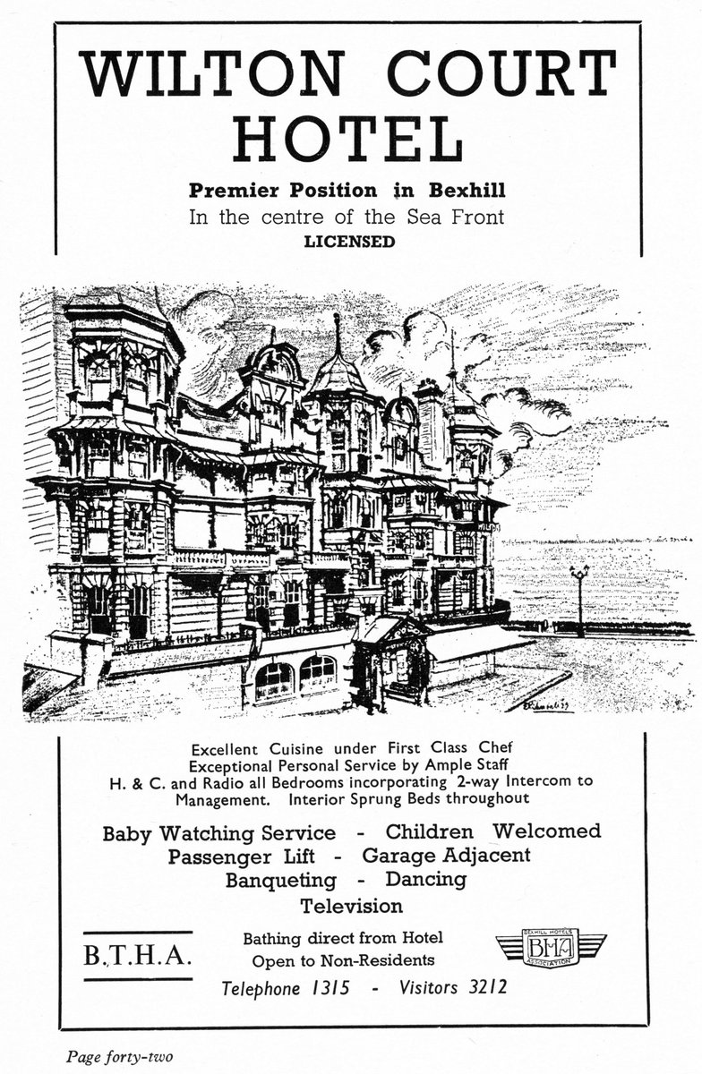 "Back to Bexhill-on-Sea in 1961 with the Official Guidebook. Wilton Court Hotel (1900-c.1970) on the corner of Wilton Road & Marina #Bexhill #Sussex & Strange & Sons, ""for All Building and Decorating Work"" 8 Terminus Road, Bexhill-on-Sea. #Seaside #History #1960s #holiday #hotels https://t.co/XjJwGBpnxN"