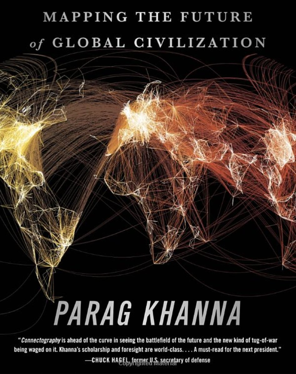 Among the several hundred books I'm studying for my book on Maintenance, none has more revelations per page than @paragkhanna's CONNECTOGRAPHY: Mapping the Future of Global Civilization.  It is about humanity's infrastructure. https://t.co/k0aCOdSViY