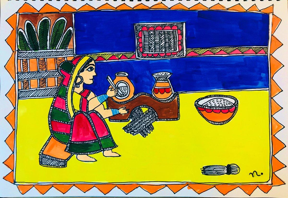 The weekly Sunday meditation.   (Belated) #MakarSakranti  Madhubani painting style.