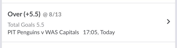 Let's cash!!!  Over 5.5 Goals 🏒🥅  #WashingtonCapitals #LetsGoPens #NHL #Telegram #Betting