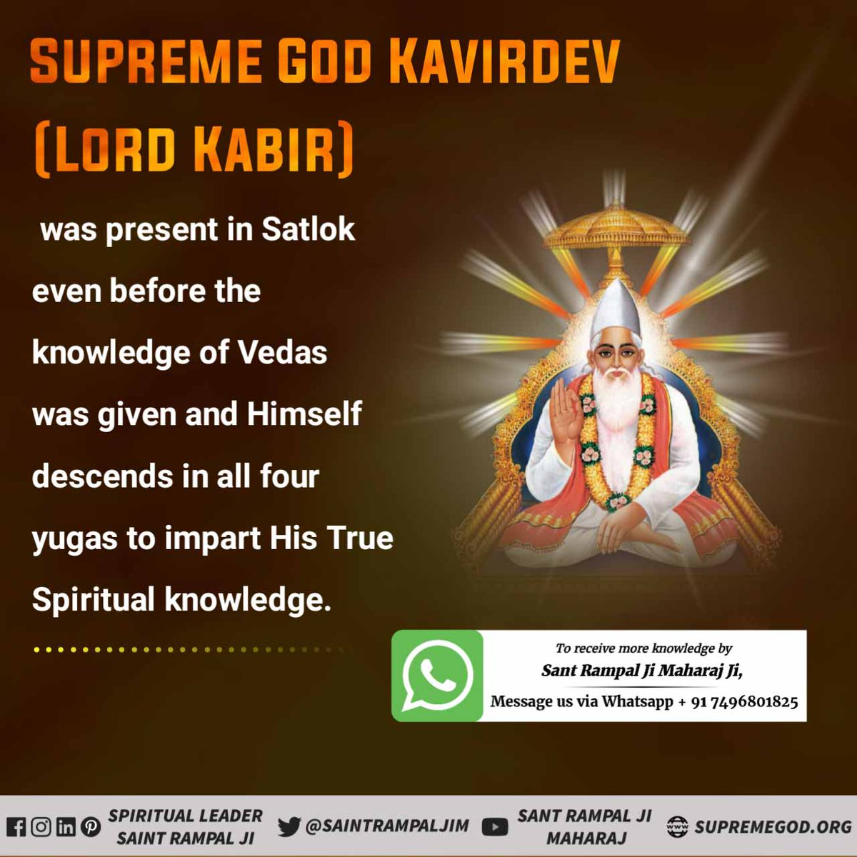 #sundayvibes  Supreme God Kavirdev (Lord Kabir) was present in Satlok even before the knowledge of Vedas was given and Himself descends in all four yugas to impart His True Spiritual knowledge.    For More information visit Satlok Ashram Youtube Channel.