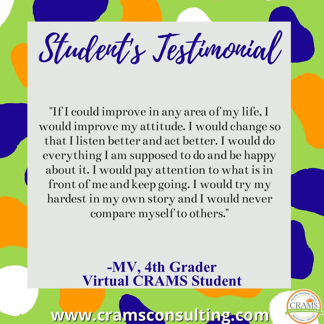 Virtual CRAMS: Motivating the Heart, Inspiring the Mind.   #allin #journeytocollege #careerpreparation #empowerment  #middleschoolready #collegeready #collegeprep #fourthgrade #student