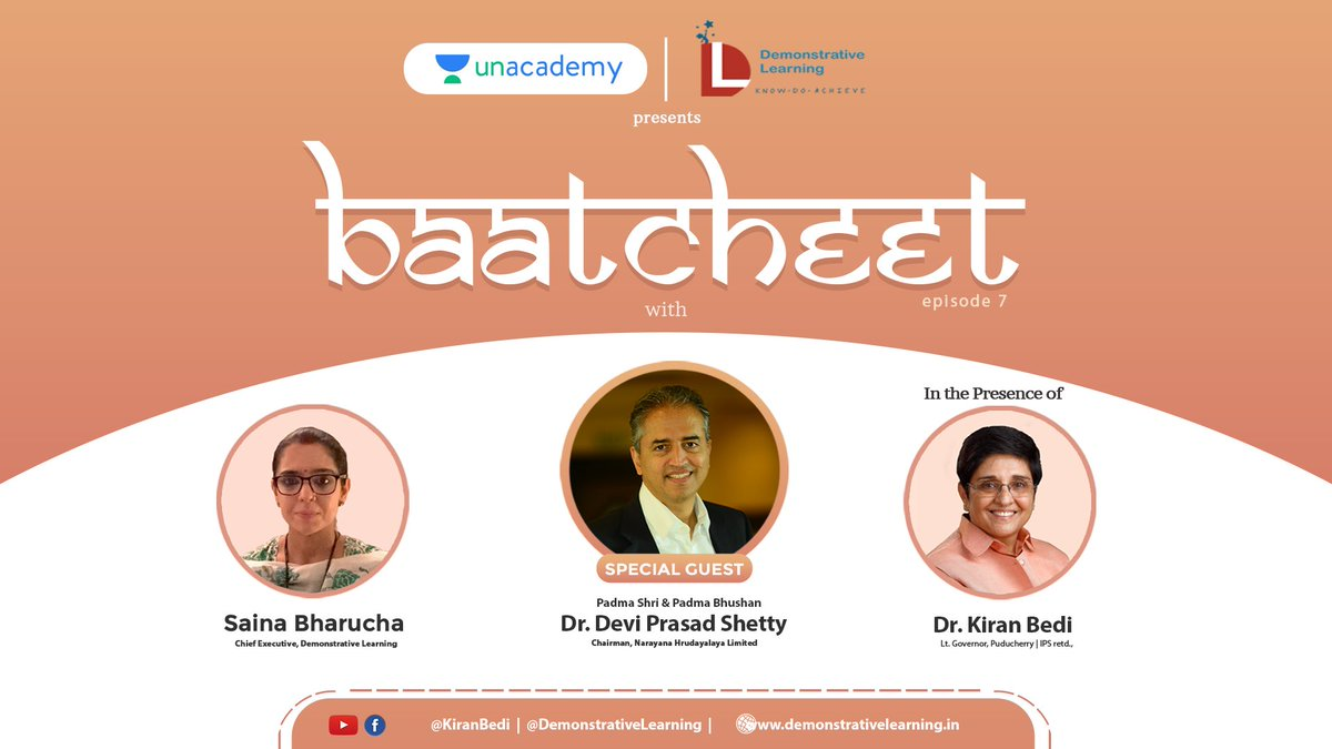 Mark your calendars! 🗓  Our Atithi for Baatcheet7 is renowned cardiac surgeon, Dr. Devi Shetty. Hosted by: Mrs. @SainaBharucha In the presence of: Dr. @thekiranbedi On 31st January, 2021 at 12 PM.  #baatcheet #comingsoon #staytuned #heartsurgeon #inspirationalpeople #GetInspired