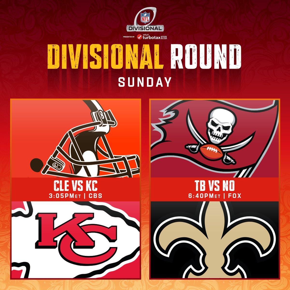 Domingo de más #NFL 🏈🎉🎊  Continúa la ronda divisional con dos partidos bastante buenos, los #GoPackGo y #BillsMafia esperan rivales.  #Browns 🆚 #ChiefsKingdom   #GoBucs 🆚 #Saints   Quién avanza?.....