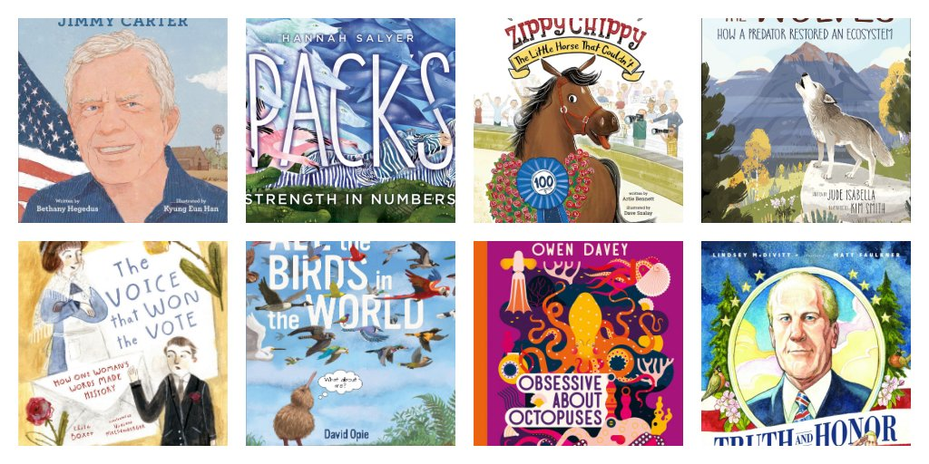 It took a bit to catch my breath but here are fantastic 2020 nonfiction picture books which elevate/emphasize our knowledge in the best possible way. There are 17 titles.  I've added a giveaway of Nonfiction Writers Dig Deep edited by  @mstewartscience 2/3