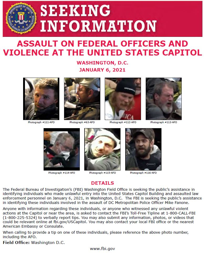 NEW: #FBIWFO & @DCPoliceDept are seeking public's help in identifying those who assaulted MPD Officer Fanone on Jan 6. If you have info, report it to the #FBI at 1-800-CALL-FBI or submit photos/videos  & reference this photo #s.