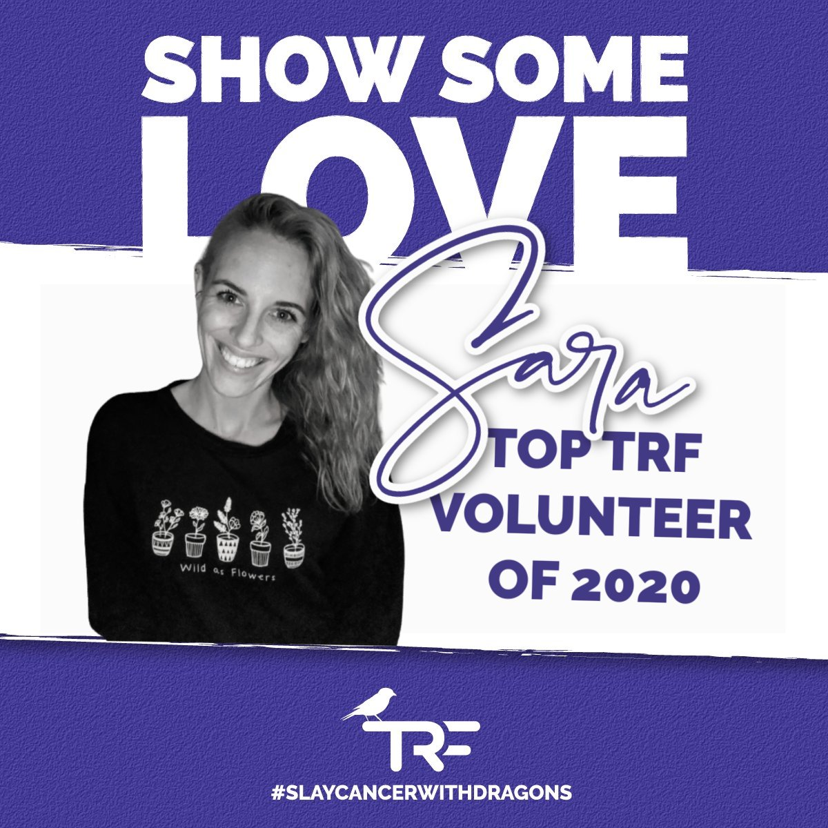 💜💜💜 There are volunteers, then there are VOUNTEERS. Sara has been there for us for YEARS, but we've been especially thankful for her in 2020.  Not only is she ALWAYS looking for opportunities to do good, she's always available to help TRF at the drop of a hat.