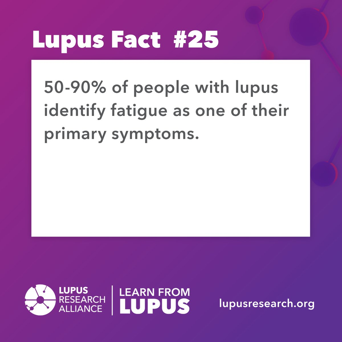 #Didyouknow that fatigue can significantly impact patients' quality of life, including lessening the ability to function at home and at work.   Visit our website to learn more about lupus symptoms at: