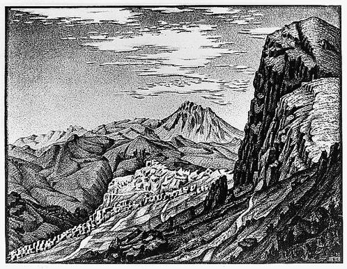 Caltavuturo in The Madonie Mountains, Sicily, 1933 #mcescher #escher