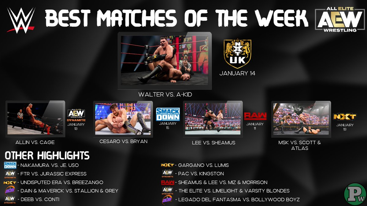 Best Matches of the Week in WWE and AEW.  #WWERAW #AEWDark #AEWDynamite #WWENXT #NXTUK #SmackDown #205Live