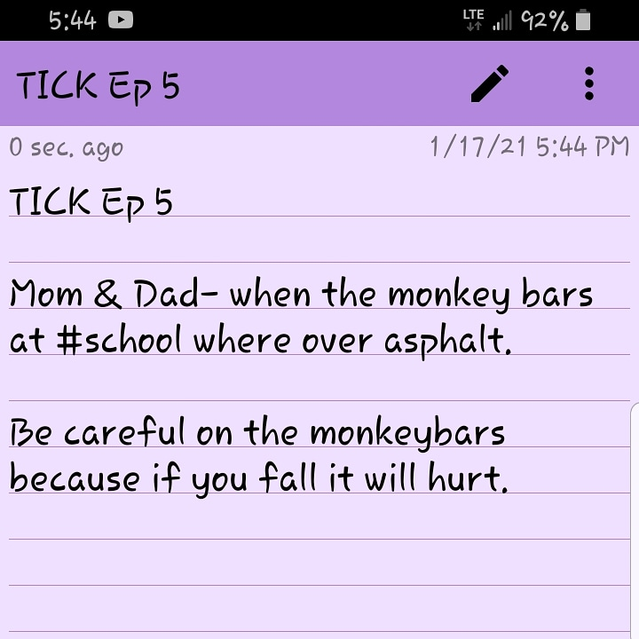 TICK Ep 5  #Mom & #Dad- when the monkey bars at #school where over #asphalt.   Be careful on the #monkeybars because if you fall it will #hurt.