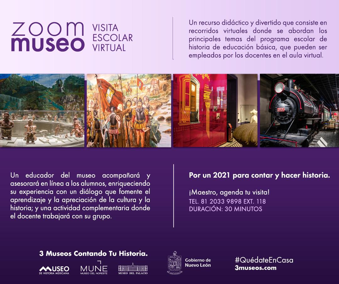 #ZoomMuseo - Programa tu visita escolar virtual, es gratuita. Separa tu fecha y horario en el 20339898 ext.118 o dtellez@3museos.com @3museos @PatrimonioNL @TurismoNL #monterrey #museosenlínea https://t.co/d73wZTTg1K