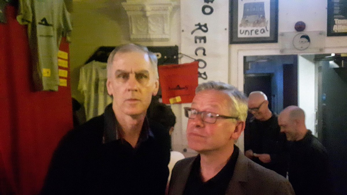 #TimsTwitterListeningParty Some great stories on here tonight.  Robert and the great @guyrnelson looking cool here at Band on the Wall in 2019. Come back to Manchester soon!