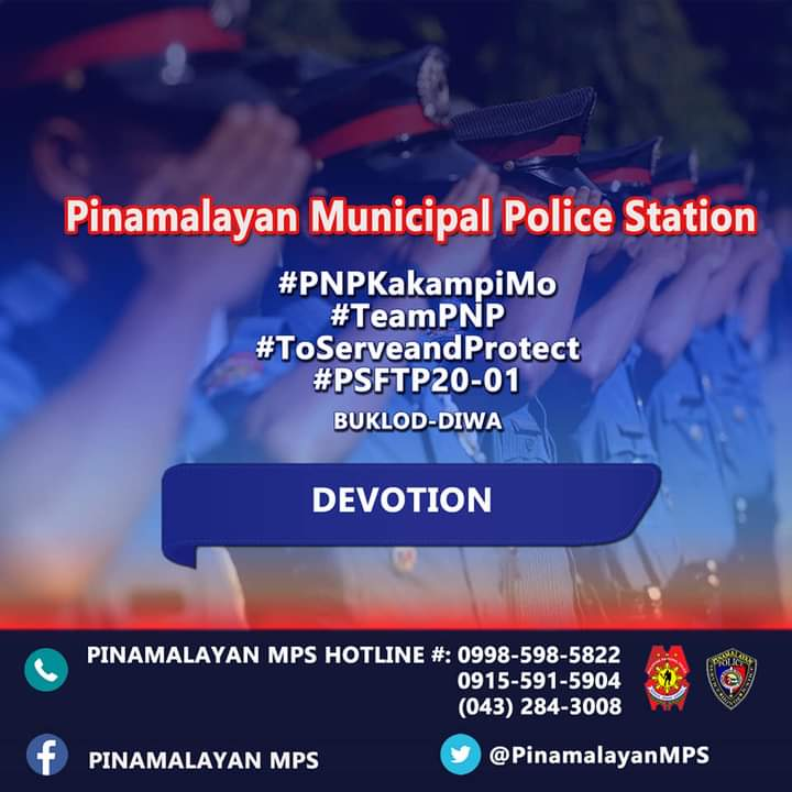 """""""Life is more than food, and the body more than clothes."""" (Luke 12:23)   On January 16, 2021 at about 4:00 AM, PSFTP BUKLOD DIWA CL 2020-01 PINAMALAYAN MPS had their roll call formation, accounting and morning devotion, outside the PTs Barracks  #TeamPNP #ToServeandProtect"""