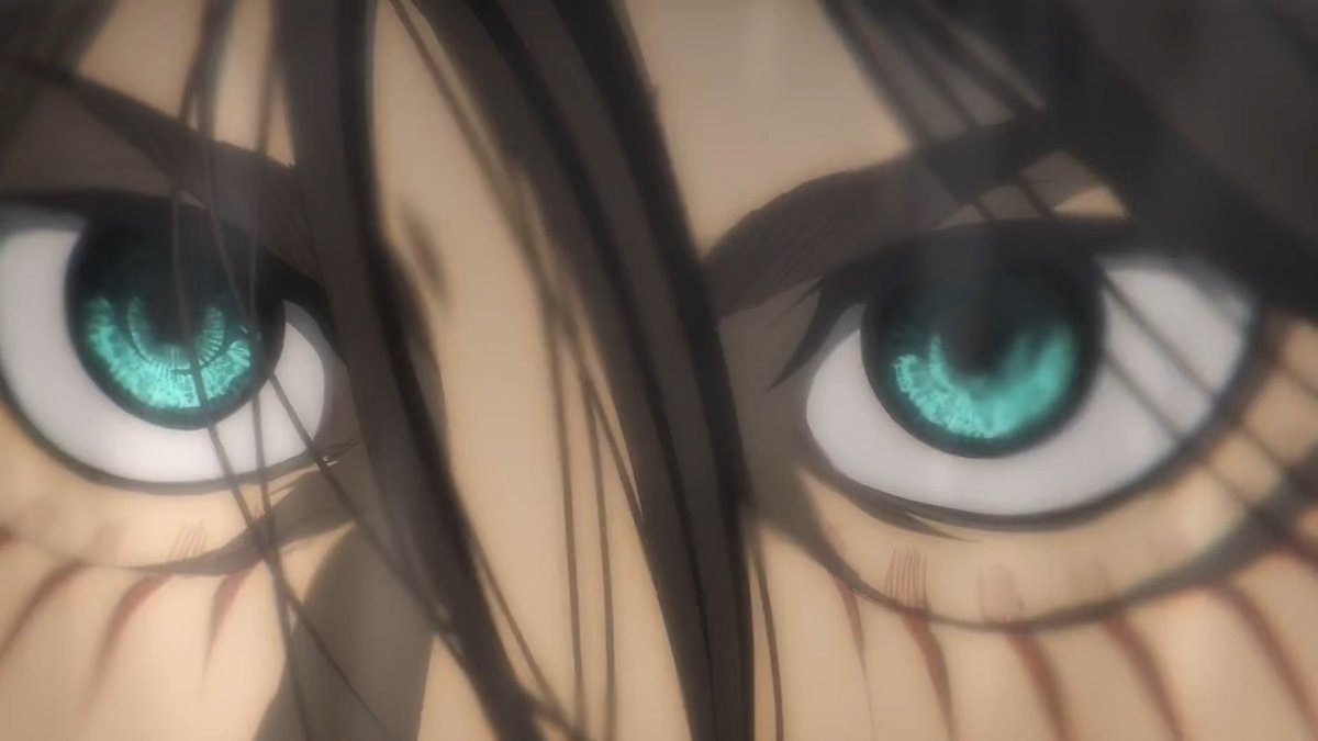 LOOK. AT. THOSE. EYES. Eren fcking Yeager isnt here to play anymore. And thank you MAPPA for making it happen. They made such quality under such a short amount of damn time it's incredible not mentioning the problems the pandemic causes. Amazing studio. Thank you. #ThankYouMappa