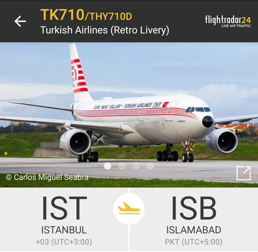 Islamabad Spotter Alert: Turkish Airlines 🇹🇷 have allocated Airbus A330-203 [TC-JNC] in retro livery from Istanbul, Turkey to Islamabad, Pakistan tonight.  PC: Flightradar24 #aviation #planespotting #avgeek #planespotters #turkishairlines