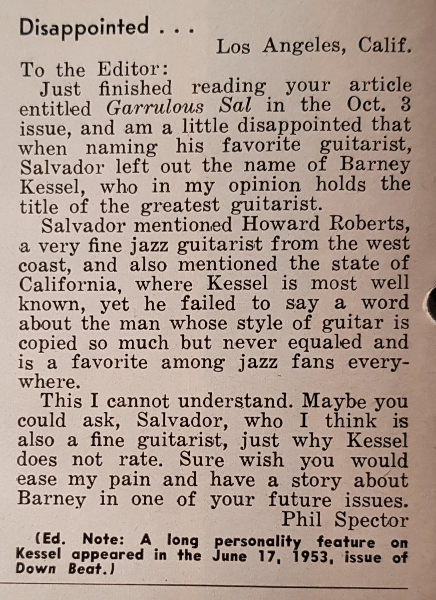RIP #PhilSpector, convicted murderer and legendary music producer. And way before that, budding #guitar player and ardent #BarneyKessel fan, as shown in the letter he sent, at the ripe old age of 16, to Downbeat #jazz magazine (published on November 14, 1956).