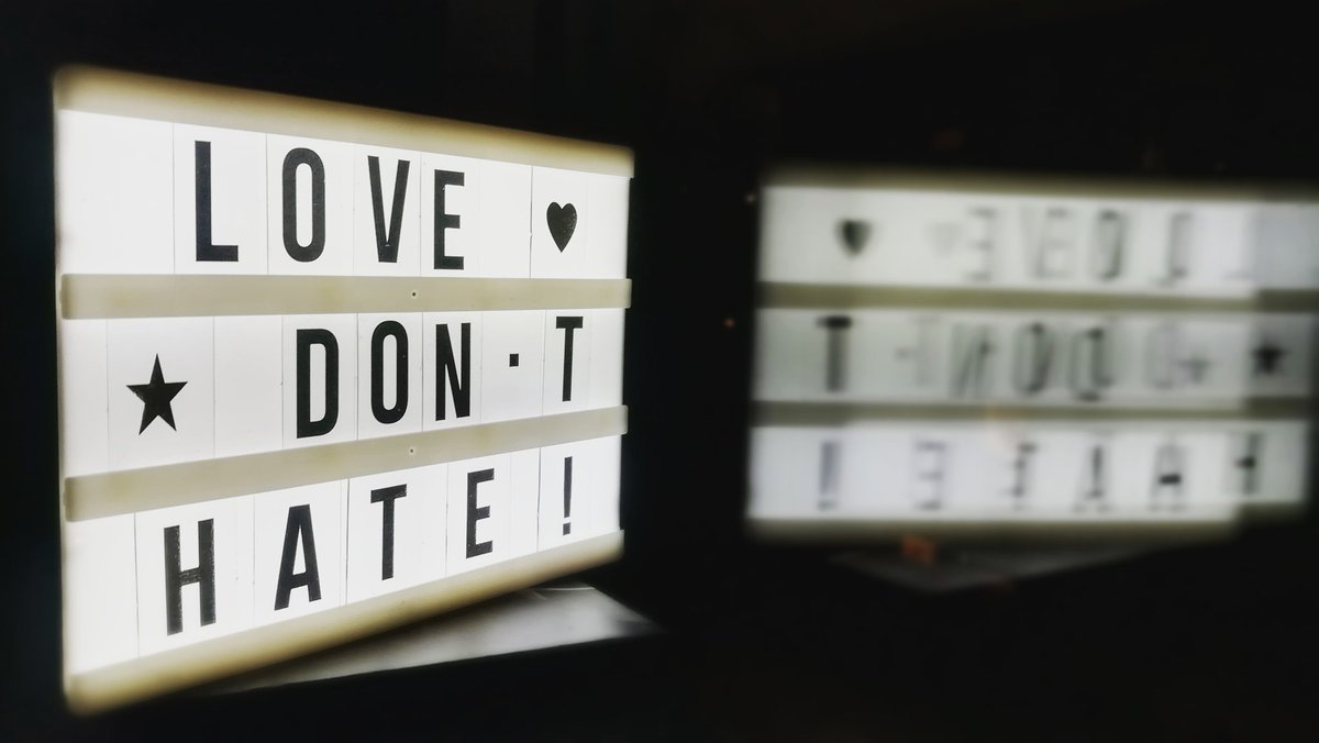 LOVE 💗 DON'T HATE!   Love more people. Even with physical distancing. The more love, the less hate.   Stay safe and healthy. 🤗   #lovedonthate #lightbox #lightboxmessages #donthate #nohate #love #lightboxmessage #lightboxshadow #window #threewords #love #dont #hate #notohate