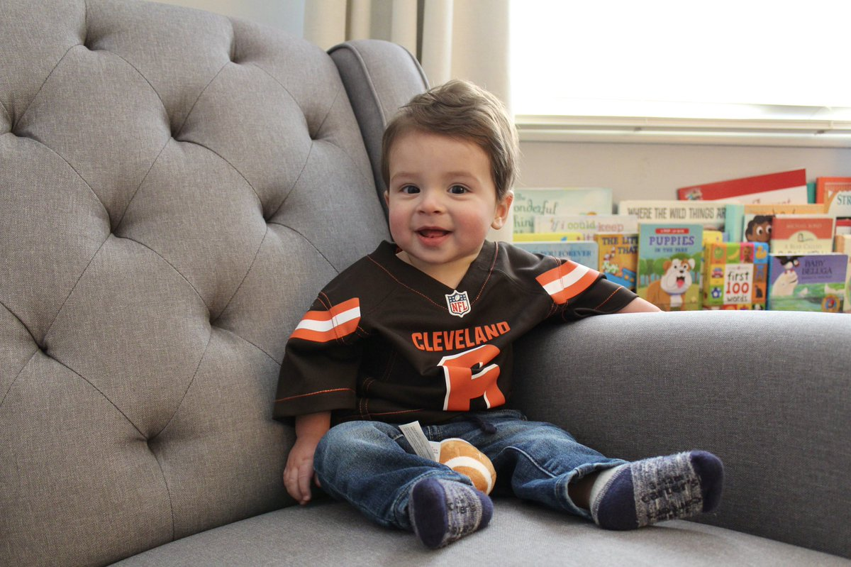 Cleveland's newest Browns fan ready for the game today and excited to move in July! @Browns @bakermayfield @sportfellowship #Browns #WeWantMore #NFL #NFLPlayoffs