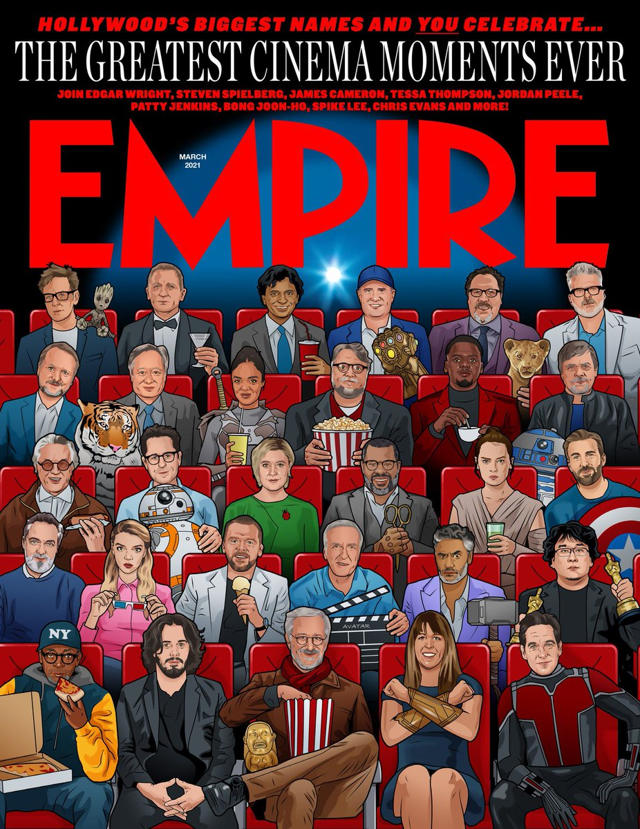 Check out this cool cover from #EmpireMagazine, which was made in collaboration with #EdgarWright. The cover is illustrated exclusively by #BillMcConkey. #StevenSpielberg #TessaThompson #PattyJenkins #JordanPeele #TaikaWaititi #PaulRudd #GuillermodelToro #ChrisEvans #SimonPegg